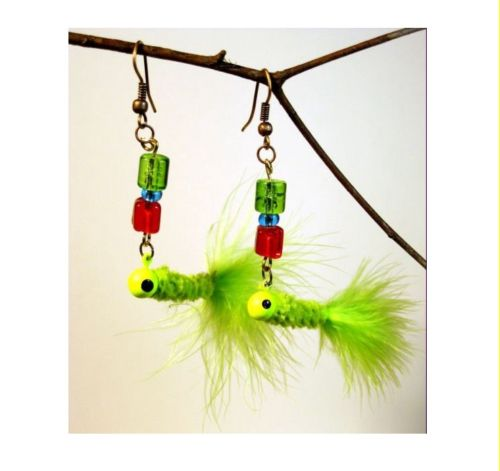 Feathered Fishing Lure Earrings
